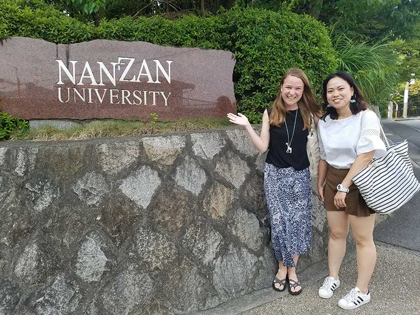 Katherine Kim and her Vietnamese classmate, Nan Dinh pose for a photo during the Nazan Summer Japanese Program graduation day. (Photo submitted by Katherine Kim)