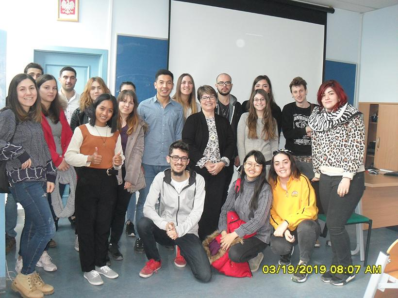 In addition to teaching Erasmus+ students, Marlys Peck also taught classes with Polish students from Opole University. (Photo courtesy of Marlys Peck)