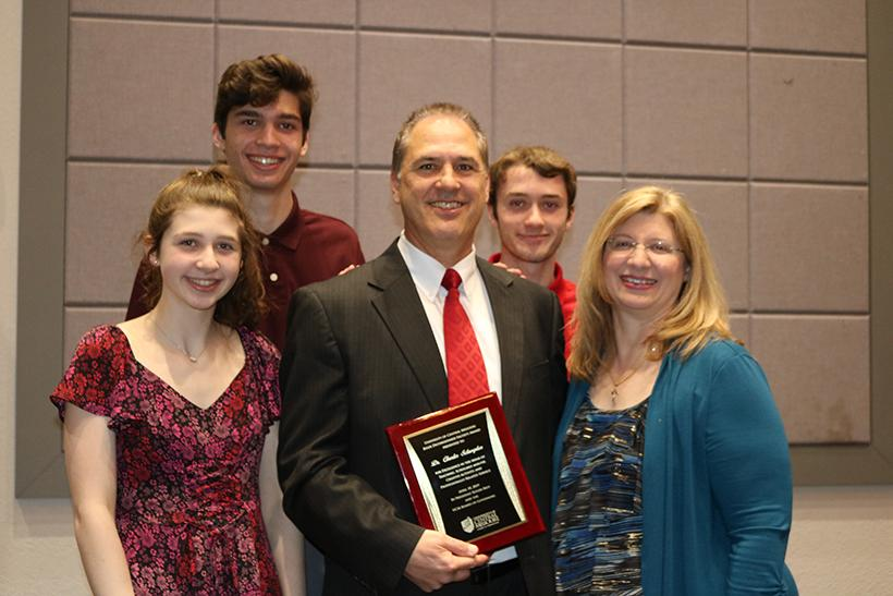 Charles Schwepker with his family during the awards ceremony. From left, Lauren Schwepker, Anthony Schwepker, Charles Schwepker, Charlie Schwepker and Laura Schwepker. (Photo curtesy of Charlie Schwepker)