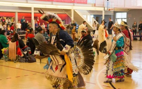 Artists at the 2018 Trading Moon Pow Wow perform a traditional Native American Dance.