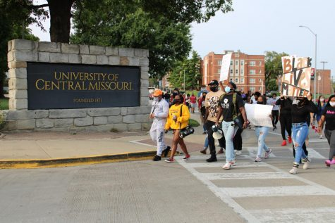 University of Central Missouri Students marched for over two miles through university streets.