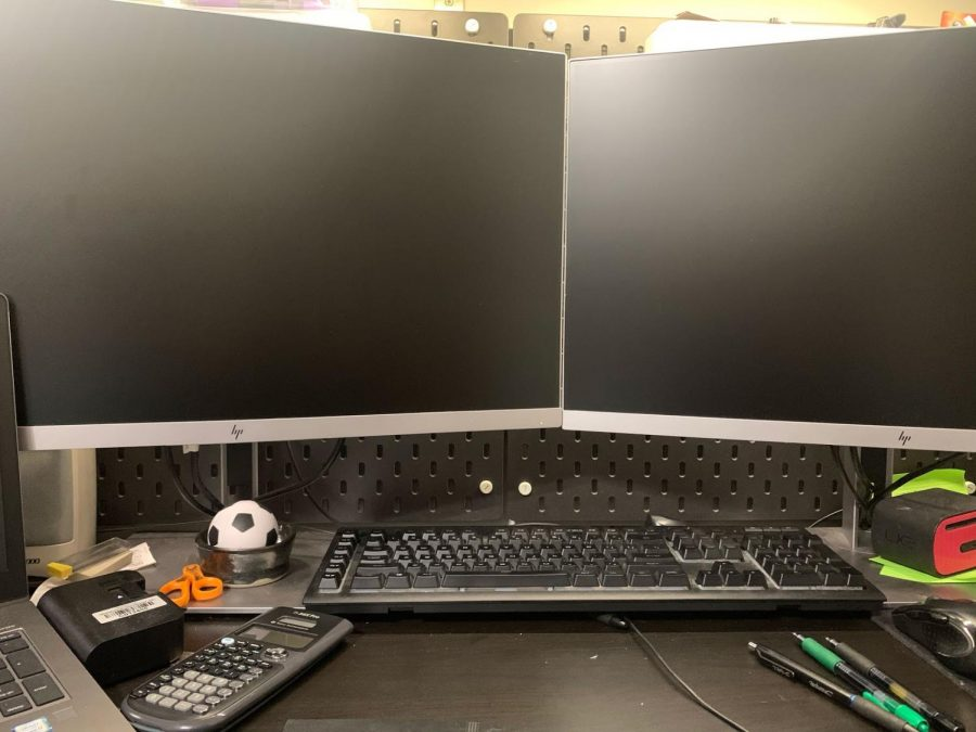 The workspace of a college student. Many have different setups, but in the age of COVID, they all require computers.
