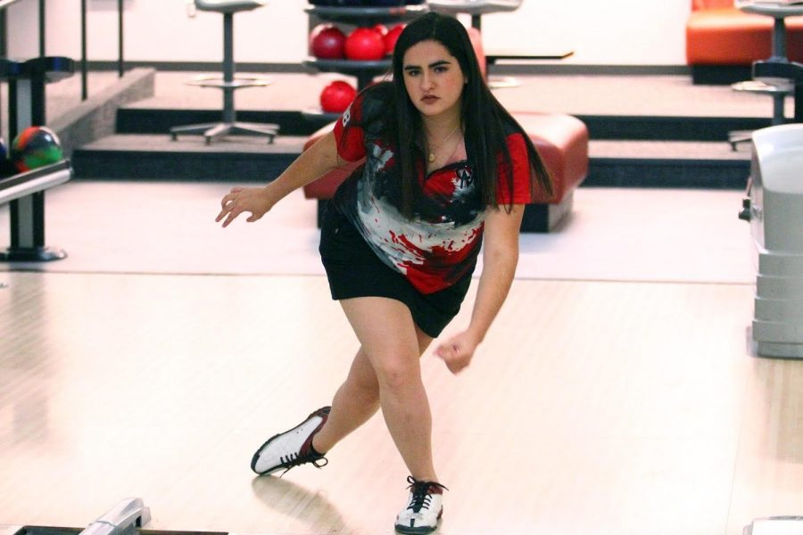 Jacqueline Garcia-Ulloa Morales bowls in the UCM Elliott Union Bowling Center during the 2019 fall semester. Since age 12, she has been a competitive bowler. Garcia-Ulloa Morales' homeland is Mexico and has adapted to the American collegiate league. Photo submitted by Jacqueline Garcia-Ulloa Morales