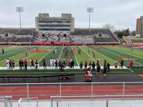 The University of Central Missouri Mules football team competes in an intrasquad scrimmage at Walton Stadium on Sat. Nov 14. The event was organized after scrimmages with Washburn University and Northwest Missouri State University were cancelled.