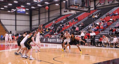 Senior guard Cameron Hunter makes a free throw shot as the Griffons fouled against him.
