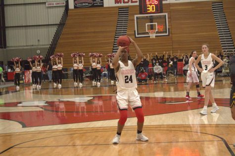 Nija Collier attempts to make a free throw attempt on Feb 26., against the Broncos.
