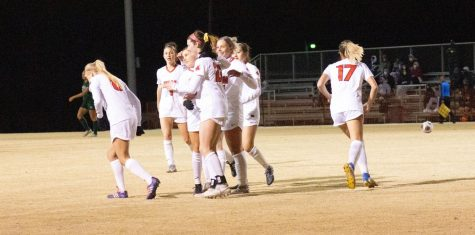 On March 5., the Jennies celebrated as a team after they scored a goal. The Jennies prepare to finish their regular season.