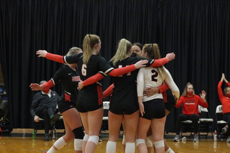 The team celebrates after winning a point. After just falling short in the first set 25-22, the Jennies came back to win the following three sets 25-16, 25-17 and 25-20 for a final score of 3-1.