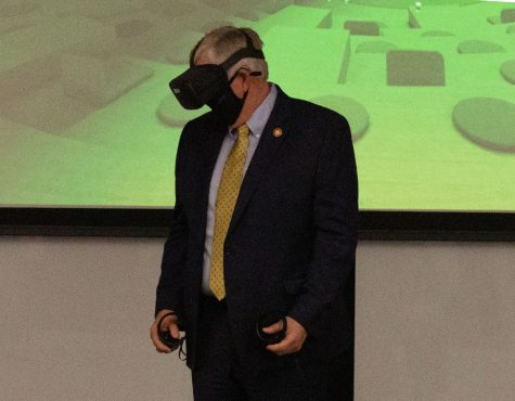 "Governor Mike Parson visited the Lee Summit Missouri Innovation Campus on March 2. Jeff Danley from VMLY&R led Parson through a presentation of the virtual reality demonstration. ""I enjoy bringing in people into virtual reality to help introduce them to new experiences and show what the possibilities are for virtual reality,"" Danley said. ""With the governor, hopefully it helped him understand how we can use virtual reality in a classroom environment and how that's going to better prepare students here at UCM for the future workforce."""
