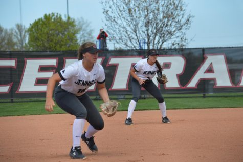 The Jennies played the Fort Hays Tigers at home on April 13. Redshirt sophomore Jessica Sader and redshirt freshman Abbey Fischer are down and ready for the ball. The Jennies took the victory with 4-2 in both game one and game two.