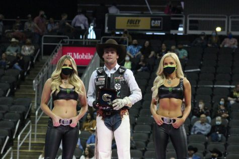 Boudreaux Campbell smiles at his prize after scoring 95 vs Woopaa in the final round during PBR's Unleash the Beast Event in KC.