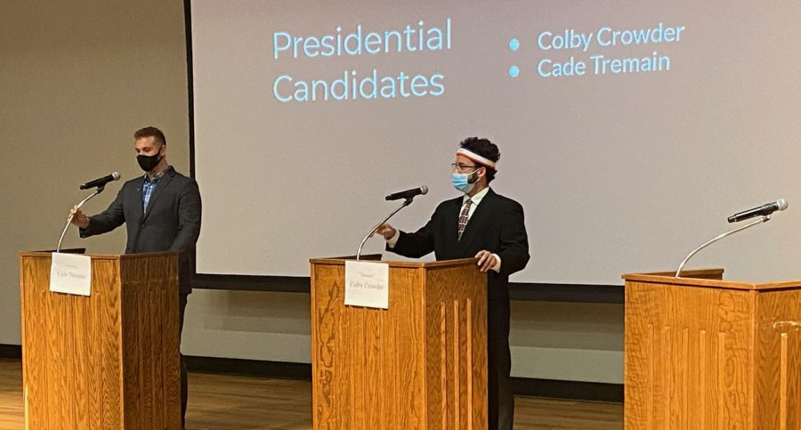 UCM SGA presidential candidates Cade Tremain (left) and Colby Crowder (right) debate at the Elliott Student Union auditorium on April 7. The topic ranged from student engagement to race relations on campus.