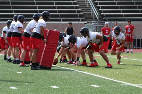 In preparation for their first game of the season, UCM's offensive line prepares for a drill at practice on Aug. 20.