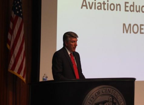 UCM President Roger Best speaks at the State of the University Address on Sept. 16 at the W.C. Morris Science Building Nahm Auditorium.