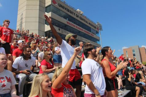 The Student stand cheers on the Mules football team on Sept. 18. The Mules lost to the Bearcats 47-7.