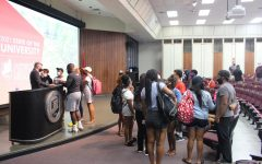 Students gather to discuss issues and concerns with University of Central Missouri President Roger Best after the State of the University Address on Sept. 16 at the W.C. Morris Science Building Nahm Auditorium.